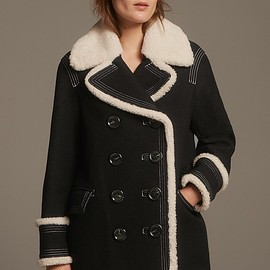 Burberry - Burberry Colstead Wool Blend Coat with Leather & Genuine Shearling Trim