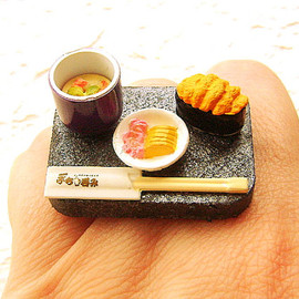 SouZouCreations - Japanese Food Ring Sushi  Pickles Egg Custard Uni