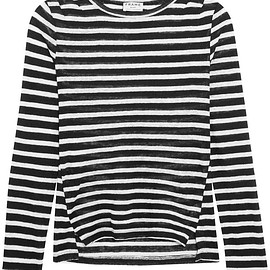 Frame - Pintucked striped linen-jersey top