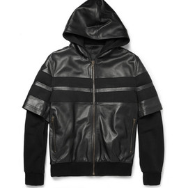 GIVENCHY - Givenchy Double-Sleeved Leather-Stripe Cotton Bomber Jacket