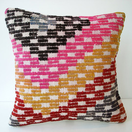 sukan - Turkish Striped Cicim Kilim Pillow Cover