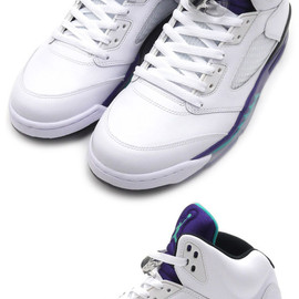 NIKE AIR JORDAN - 5RETROWHITE/NEWEMERALD-GRAPEICE-BLACK(エアジョーダン)(スニーカー)(シューズ)136027-108191-010215-310+