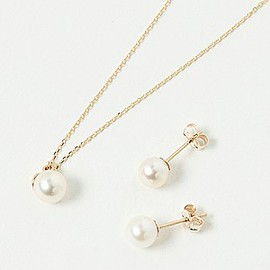 agete - 【数量限定】アコヤパール・K10ネックレス&K10ピアスセット(10181127001)¥27,000