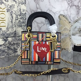 Dior - Mini Lady Dior Bag in Embroidered Calfskin Red Heart
