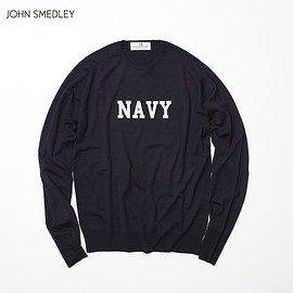 "uniform experiment - JOHN SMEDLEY FRONT ""NAVY"" PRINT KNIT"