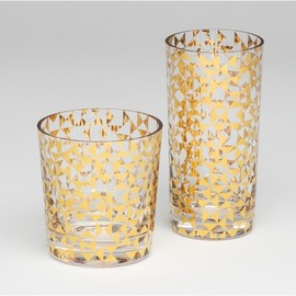 DwellStudio - GOLD TRIANGLES DRINKING GLASS