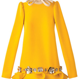 miu miu - Metal-flower embellished long sleeve dress with bow detail