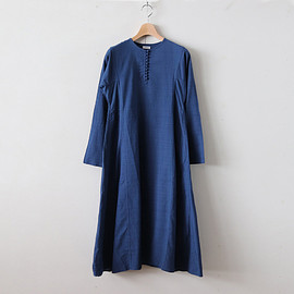 YAECA|WOMEN - BUTTON DRESS #NAVY [68708]