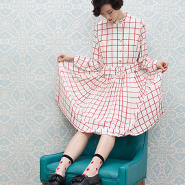 THE WHITEPEPPER - Square Print Pleat Skirt Dress