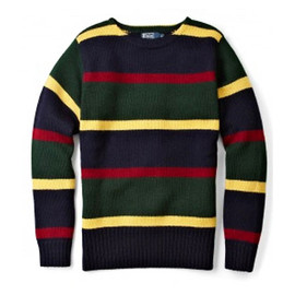 POLO RALPH LAUREN - College Stripe Chunky Crew Neck Sweater