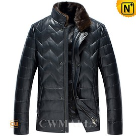 cwmalls - Fur Collar Down Leather Jacket CW846039 - cwmalls.com