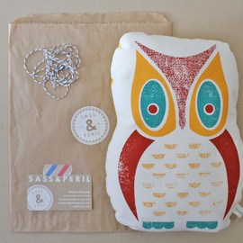 SASS & PERIL - Owl Screenprinted Pillow, 3-color Hand Printed