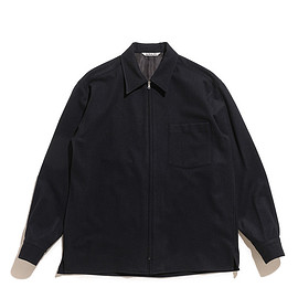 AURALEE - Super Soft Wool Flannel Zip Shirts-Black