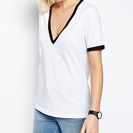 ASOS - ASOS V Neck T-Shirt With Tipping
