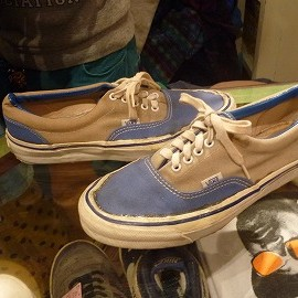 "vans - 「<used>70-80s vans Style95 beige/blue""made in USA"" size:US9/h(27.5cm) 7500yen」完売"