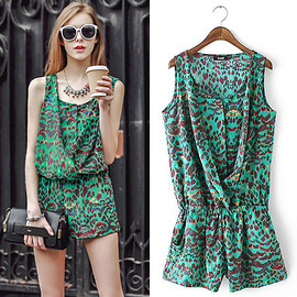 Fashion Leopard Floral Print Sleeveless Chiffon Jumpsuits