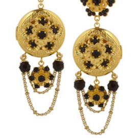 DOLCE&GABBANA - Dolce & Gabbana | Gold-tone Swarovski crystal locket clip earrings