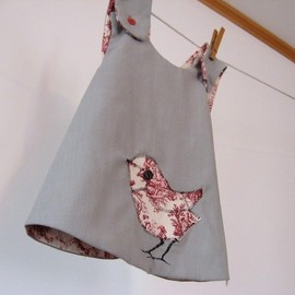 Reversible gray and red toile pinafore dress