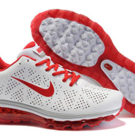 Nike Air Max 2011 Leather White Sport Red-Mens