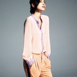 ROSE BUD - BI COLOR S/C L/S BLOUSE