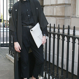 London Kimono, Zara Shirt, Made By Me Clutch, Sparks Trousers, Vivienne Westwood Shoes