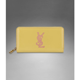 Yves Saint Laurent - YSL Zip Wallet in Light Yellow Patent Leather with embroidered Petal Pink logo