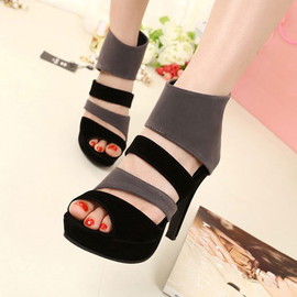 Roman style strap cutout mixing color high-heeled shoes