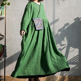 Everyday loose robe - Cotton linen maxi dress in green, long sleeves dress, oversized dress, women Everyday loose robe