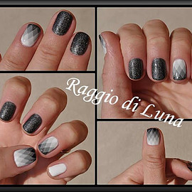 Rhombus black & white & grey gradient nail art