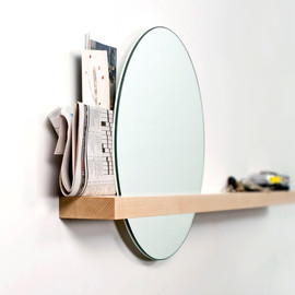 JBplusDG - Rise/Set Mirror round mirror and solid wood shelf