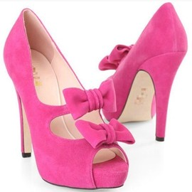 sweet pink bowknot sandals fish head shoes
