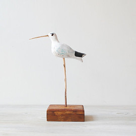 Vintage Bird Figure, Hand Painted Handmade Wood Sand Piper, Beach Decor