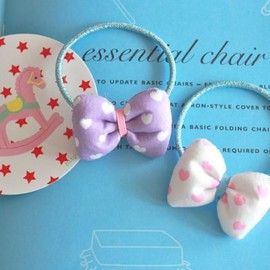 Curly Collection - Original ribbon ♡Heart Purple&White