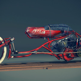 Indian Motorcycle - Board Track Bike 1915 By Craig Kitzmann