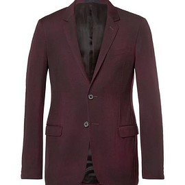 Lanvin - Burgundy Slim-Fit Overdyed Brushed Wool-Gabardine Suit Jacket