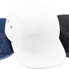 Supreme - Embossed Stone Washed Denim Camp Cap
