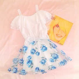 Girly Rose - Blue Rose Organza Skirt