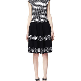 Alexander McQueen - SS2014 Fit-and-Flare Jacquard Dress, Black/White