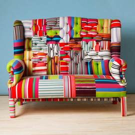 namedesignstudio - Striped Wing Back-patchwork sofa