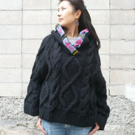"NEBULAVO - NEBULAVO:""ROPE""PONCHO SWEATER"