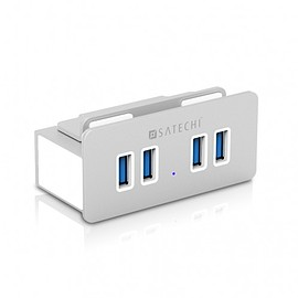 Satechi - Satechi Aluminum Clamp Hub Premium 4-Port USB 3.0 Compatible with iMacs Released 2012 and Later