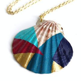 Sea Shell Necklace Pendant Necklace - Magenta, Turquoise, Gold, Teal, Navy Blue Color Block Geometry