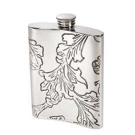 Wentworth ウェントワース - 6oz Pewter Flask Acanthus Pattern スキットル