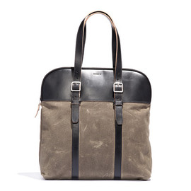 BILLYKIRK - No. 207 Padded Laptop Tote, Moss Waxed