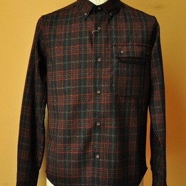 White Mountaineering - White Mountaineering  CHECK DOUBLE FRONT POCKET SHIRT   col.BLACK×RED