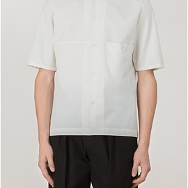 LEMAIRE - SHORT SLEEVED SPREAD COLLAR SHIRT LIGHT COTTON-LINEN TWILL WOVEN IN ITALY  CHALK