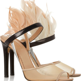 REED KRAKOFF - Leather, mesh and feather sandals
