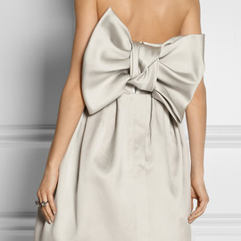 LANVIN - Bow-embellished duchesse-satin dress