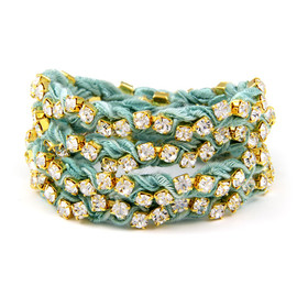 Ettika - Turquoise Vintage Ribbon on Gold Rhinestone Wrap Tennis Bracelet