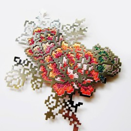 Heng Lee - floral embroidery brooch